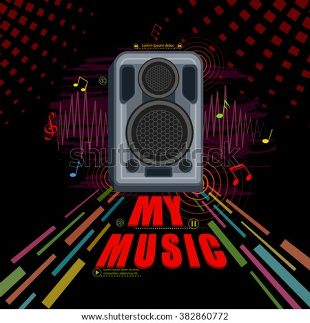 easy to edit illustration of abstract music background loudspeaker - stock vector