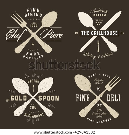 Easy to edit! Set of vector vintage hipster restaurant badges. Great for any food design, retro badge, or label project.  - stock vector