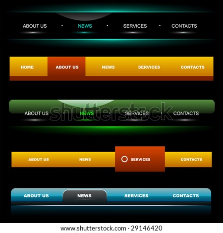 Easy to edit stylish website navigation templates 4 - stock vector