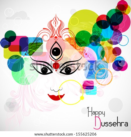 easy to edit vector illustration Goddess Durga for Happy Dussehra - stock vector