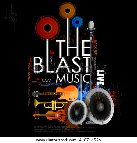 easy to edit vector illustration of abstract music background with instrument - stock vector