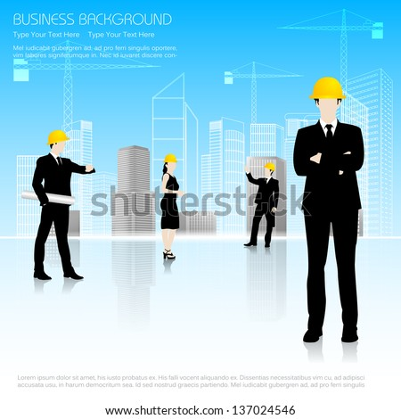 easy to edit vector illustration of architect in front of building - stock vector