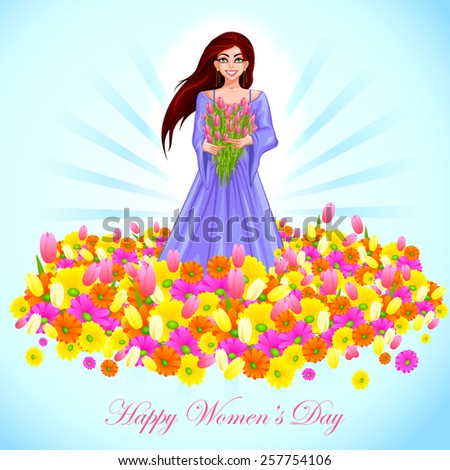 easy to edit vector illustration of beautiful woman with flower - stock vector