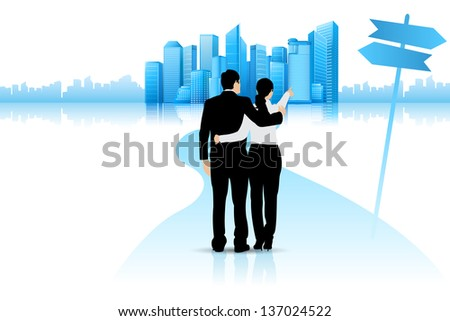 easy to edit vector illustration of business couple point at building showing future - stock vector