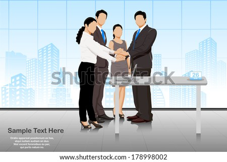 easy to edit vector illustration of business deal in office with business people - stock vector