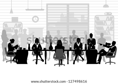 easy to edit vector illustration of  business people during a meeting sitting around a table - stock vector