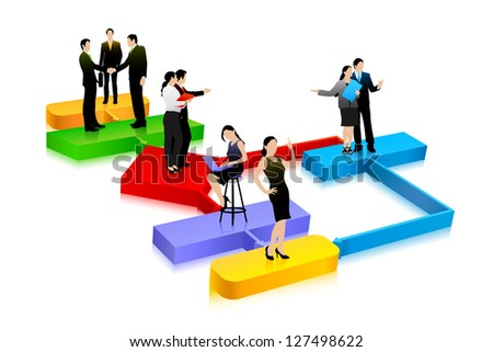 easy to edit vector illustration of business people on flowchart - stock vector