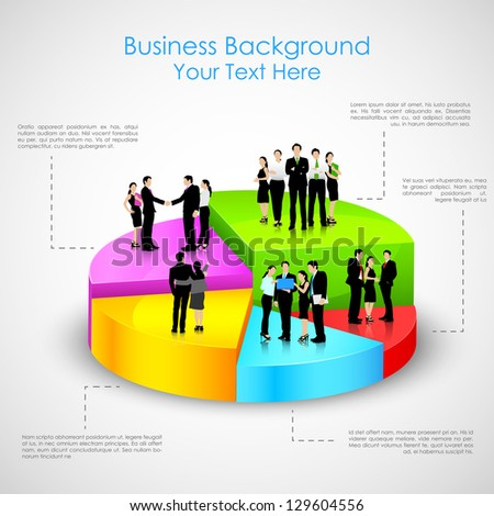easy to edit vector illustration of business people standing over pie chart - stock vector