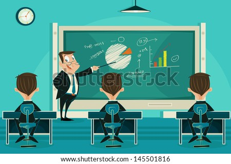 easy to edit vector illustration of business presentation class - stock vector