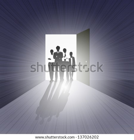 easy to edit vector illustration of business team standing on open door showing opportunity