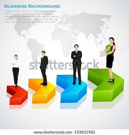 easy to edit vector illustration of business team standing on progress arrow - stock vector