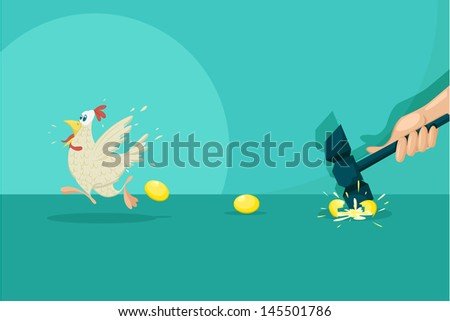 easy to edit vector illustration of businessman breaking golden egg and flying hen - stock vector