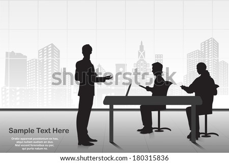 easy to edit vector illustration of businessman giving presentation - stock vector