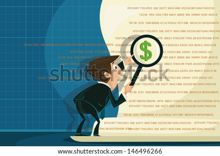 easy to edit vector illustration of businessman looking on dollar through magnifying glass - stock vector