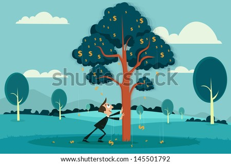 easy to edit vector illustration of businessman plucking dollar by shaking tree - stock vector