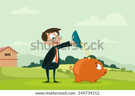 easy to edit vector illustration of businessman pouring coin into piggybank showing investment - stock vector