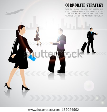 easy to edit vector illustration of busy people on city scape backdrop - stock vector
