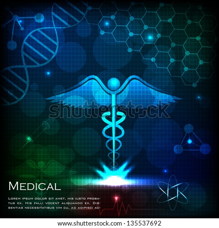 easy to edit vector illustration of caduceus on medical background - stock vector