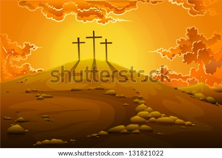 easy to edit vector illustration of calvary crucifixion with three crosses - stock vector