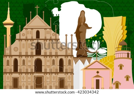easy to edit vector illustration of colorful collage of Macau - stock vector