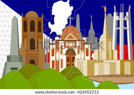 easy to edit vector illustration of colorful collage of Philippines - stock vector