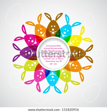 easy to edit vector illustration of colorful Easter bunny - stock vector