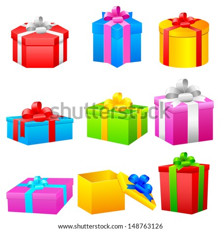 easy to edit vector illustration of colorful gift box - stock vector
