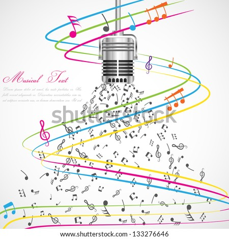 easy to edit vector illustration of colorful musical notes coming out of microphone - stock vector