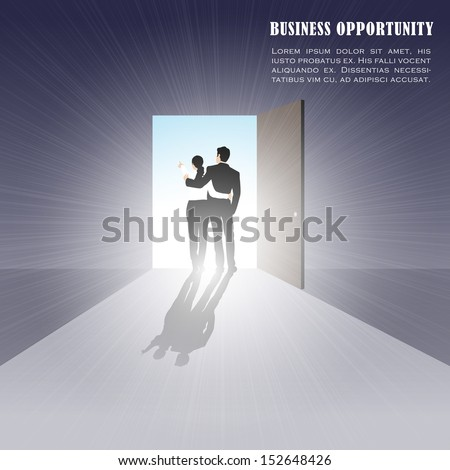 easy to edit vector illustration of couple standing on open door showing opportunity