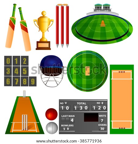 easy to edit vector illustration of Cricket equipment - stock vector