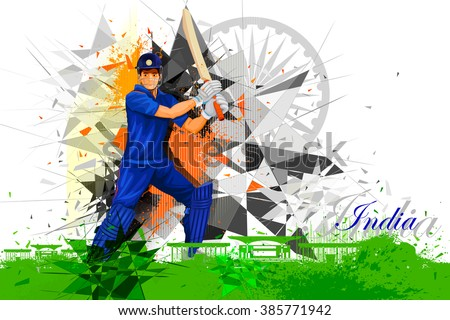 easy to edit vector illustration of cricket player from India - stock vector