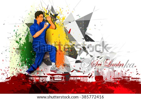easy to edit vector illustration of cricket player from Sri Lanka - stock vector