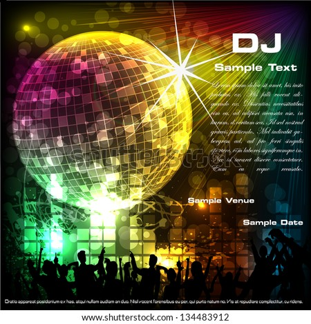 easy to edit vector illustration of dancing crowd in musical background with disco ball - stock vector