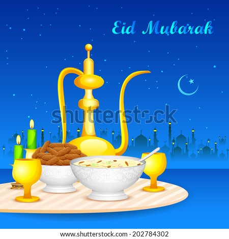 easy to edit vector illustration of decorated mosque on Eid Mubarak (Happy Eid) - stock vector