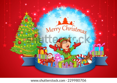 easy to edit vector illustration of elf with Christmas celebration - stock vector