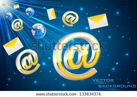 easy to edit vector illustration of email symbol with envelope flying - stock vector