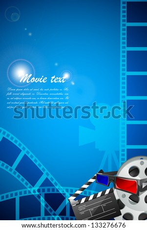easy to edit vector illustration of filmstrip with clapperboard on filmy poster - stock vector