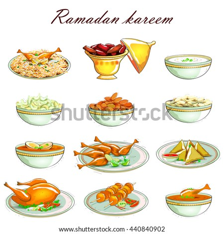 easy to edit vector illustration of Food Icon for Ramadan Kareem - stock vector