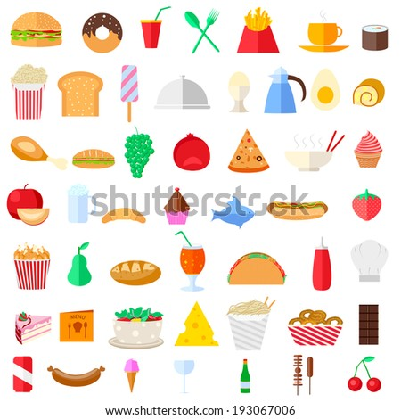easy to edit vector illustration of food icons - stock vector