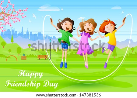 easy to edit vector illustration of girls celebrating Friendship Day - stock vector