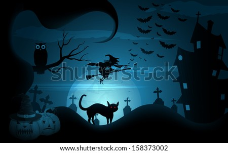 easy to edit vector illustration of Halloween background witch flying on broomstick - stock vector