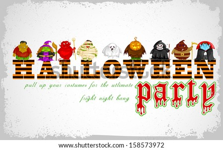 easy to edit vector illustration of Halloween Costume Party design - stock vector