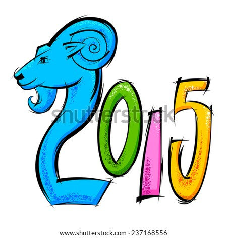 easy to edit vector illustration of Happy New Year 2015 - stock vector