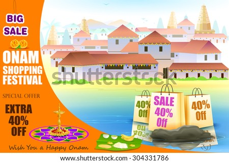 easy to edit vector illustration of Happy Onam shopping Offer - stock vector