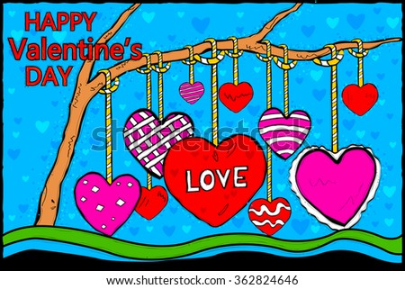 easy to edit vector illustration of Happy Valentine's Day celebration background - stock vector