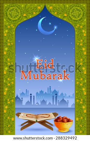 easy to edit vector illustration of holy book Koran in Eid Mubarak (Happy Eid) background - stock vector