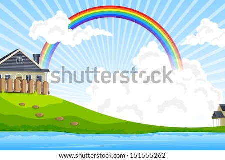 easy to edit vector illustration of house in landscape - stock vector