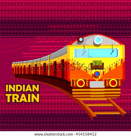 easy to edit vector illustration of Indian Railway Train representing colorful India - stock vector