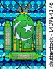 easy to edit vector illustration of Islamic Stained Glass Painting for Eid - stock