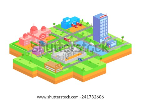 easy to edit vector illustration of isometric building for essential services like hospital, central jail, fire station and civil court